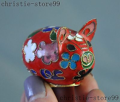 China chinese bronze Cloisonne Fengshui Animal Zodiac Pigs lucky statue