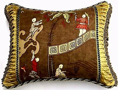 """Scalamandre fabric """"Ping"""" Chinoiserie Toile Designer accent Pillow"""