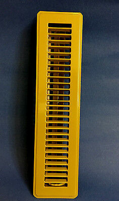"New Vintage Brown / Tan Floor Wall Metal Heat Vent Grate w. Louvers 15.5"" x  4"""