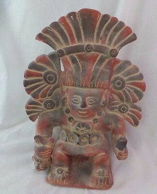 Pre Columbian Style Colombian Mayan Terracotta Figure Vase