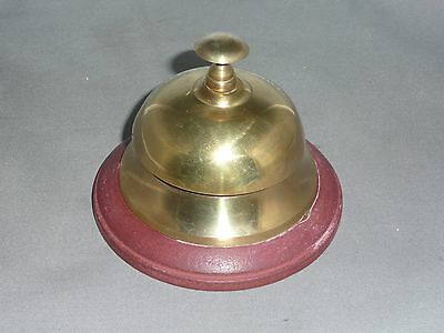 DESK BELL   Brass with wood base