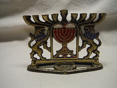 Small Brass Menorah Candle Holder Made In Israel