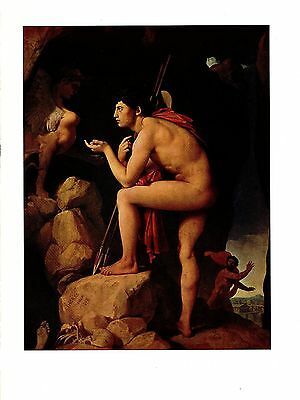 """1967 Vintage INGRES """"OEDIPUS AND THE SPHINX"""" GORGEOUS COLOR offset Lithograph"""