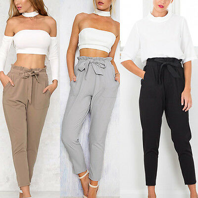 Women OL Pencil Trousers Skinny Stretch Slim High Waist Trousers Leggings Pants