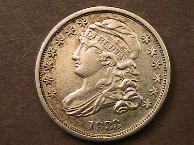 1833 Capped Bust Dime Very High Grade Au Amazing Details!!