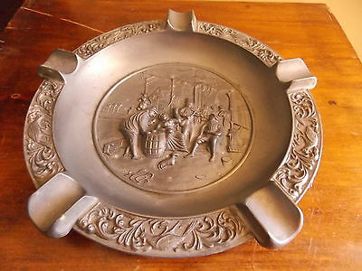 'Made in ITALY' Large Pewter? Ash Tray Vintage Cigarette Cigar Scene Tobacciana