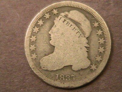 1837 Capped Bust Dime Very Nice Early Date Coin! Free Shiping!
