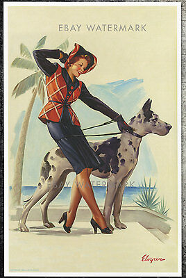 1940's Elvgren Authentic Pin-Up Poster Art Print Great Dame 11x17 Great Dane