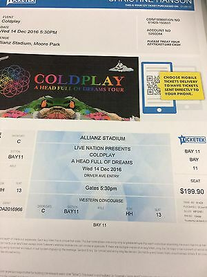 Tickets Coldplay Sydney Wednesday 14th December 2016