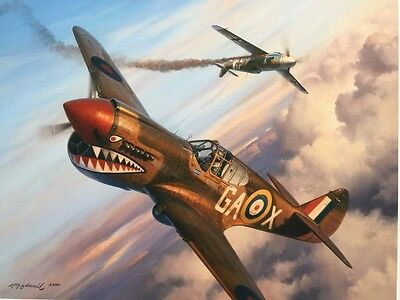 Roy Grinnell THE LONG SHOT P-40 Jack Pinkham Extra Signature Aviation Art NR $1
