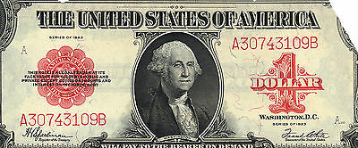 $1 DOLLAR 1923 LARGE RED Seal United States Legal Tender US Note Bill Currency