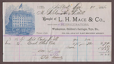 1886 L.H. & Mace & Co Billhead Refrigerators Woodenware Toys Childrens Carriages