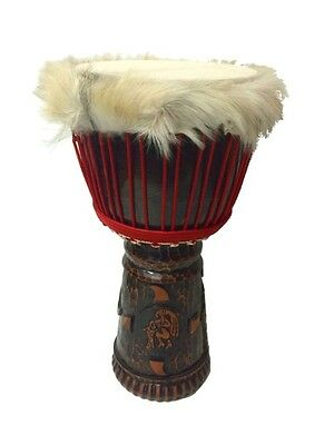 "Australian Made 12"" Tribal Djembe Drum with Hair"