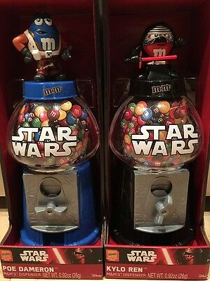 """New M&M'S Star Wars Episode 7 , 12"""" Candy Dispensers KYLO REN or POE DAMERON"""