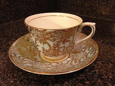 COLCLOUGH bone china cup saucer England gold filigree on green CUP HAS CRACK