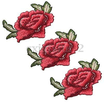 1/3Pcs Red Rose Flower Patch Applique Embroidered Badge For Iron Sew on Collar