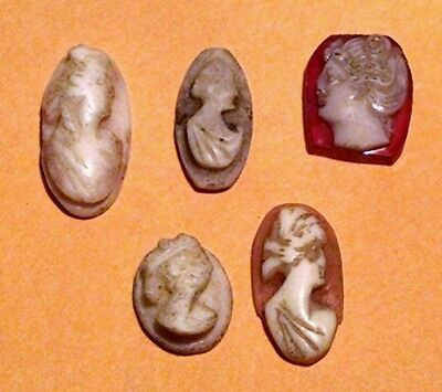SET OF 5 Antique Victorian Carved High Relief CAMEOS