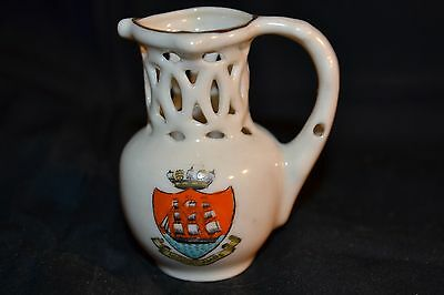 Vintage W H GOSS Crested China Model of Old English Puzzle Jug South Kensington