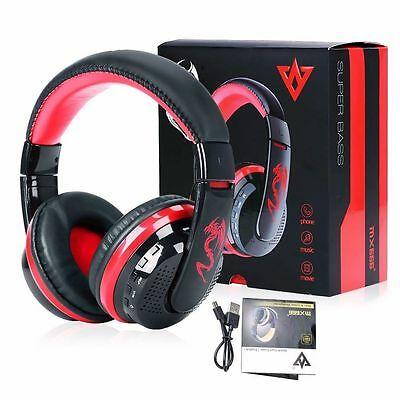 Bluetooth 4.0 Headset Wireless Stereo Super Bass Music Headphone with Mic Red