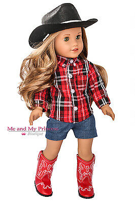 Cowgirl Western Outfit Boots & Hat for 18 inch American Girl Doll Saige Clothes