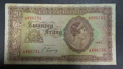 1943 Luxembourg 20 Franc banknote #A486731 *VF+*