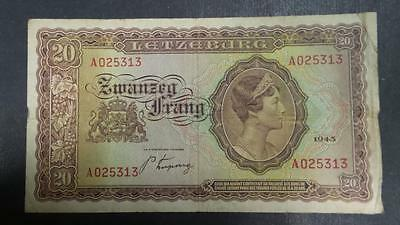 1943 Luxembourg 20 Franc banknote #A025313 *VF+*