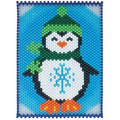 """Winter Holiday Pony Bead Beaded Banner Kit """"Jolly Penguin"""" Wearing Hat & Scarf"""