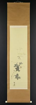 """JAPANESE HANGING SCROLL ART Painting """"Flower"""" Asian antique  #E2855"""