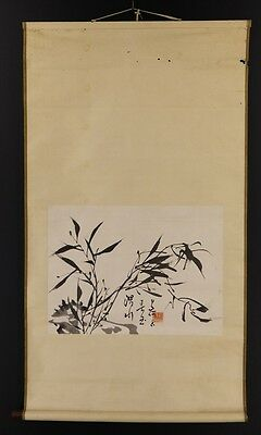 """JAPANESE HANGING SCROLL ART Painting """"Bamboograss"""" Asian antique  #E2858"""