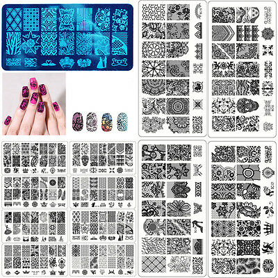 New 10 Styles DIY Nail Art Stamp Template Image Plates Polish Stamping Decals