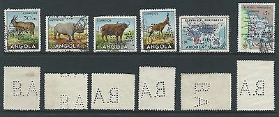 6 different Bank of Angola BA perfins - 4 with Animals and 2 maps