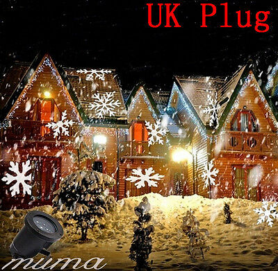 Outdoor LED Moving Snowflake Laser Light Projector Lamp For Xmas Party Décor