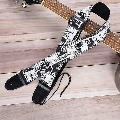 Newspaper Guitar Strap PU Leather Belt For Electric Bass Folk Adjustable GS-115