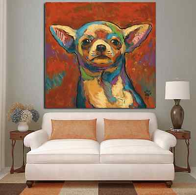 Chihuahua Abstract Oil Painting Print On Canvas (Red 36X36) Best Gift Idea