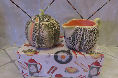 Dept. 56 Melon Ceramic Creamer And Sugar Bowl with Lid New in Box #3627-7