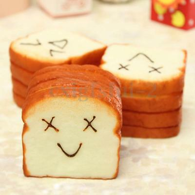 Cute Jumbo Squishy Slice Toast Bread Happy Face Phone Card Holder Hand Pad Toy