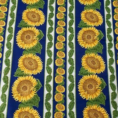 Sunflowers vintage quilting cotton, bold blue/yellow/green, 2 m x 114 cm wide