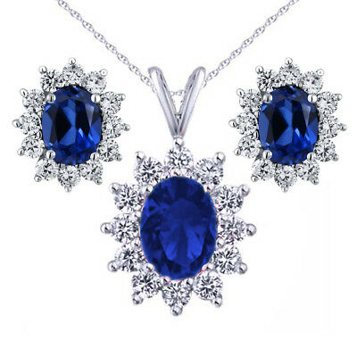 5.24 Ct Oval Simulated Sapphire 925 Sterling Silver Pendant and Earrings Set