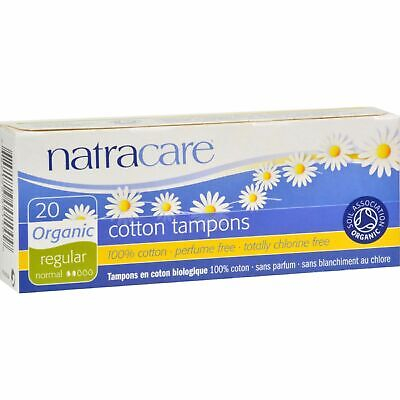 New Natracare Tampons Non-Applicator Regular 20 Count Pack of 6