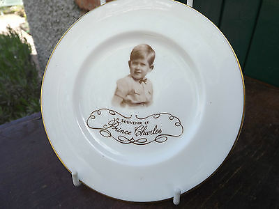 1950s Paragon China Young Prince Charles Child's Plate Fully Stamped