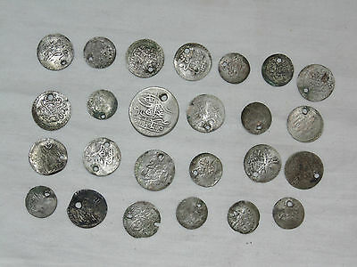 Lot 25 Antique Ottoman Empire Turkish Islamic Silver Akce Akche Drilled Coins *3