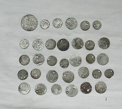 Lot 33 Antique Ottoman Empire Turkish Islamic Silver Akce Akche Drilled Coins *6