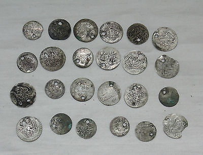 Lot 24 Antique Ottoman Empire Turkish Islamic Silver Akce Akche Drilled Coins *