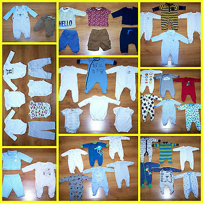LARGE BUNDLE OF BABY BOYS CLOTHES  *47 ITEMS* 0 - 3 months - lots from NEXT