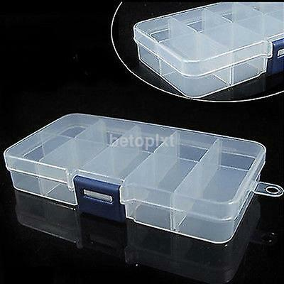 Clear Plastic Storage Box Case Nail Art False Tips Gems 10cells Empty Container