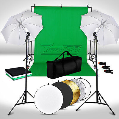 3*Backdrops +5 in 1 Reflector Soft Umbrella Background Stand Photo Lighting Kit