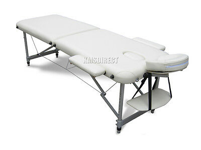 Beige Portable Massage Table Bed Beauty Therapy Couch 2 Section ALU + Cover Bag