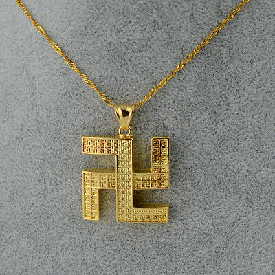 Tibetan Swastika Buddhism Hinduism Gold Plated Pendant Necklace Lucky Charm
