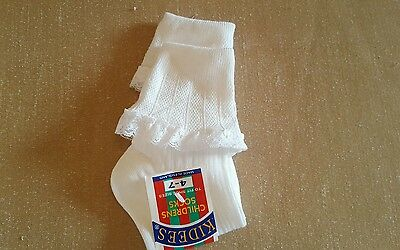 24 Pairs Of Girls Uk Made Cotton Rich White Lacetop Socks. Ages 11-14+ Yrs.