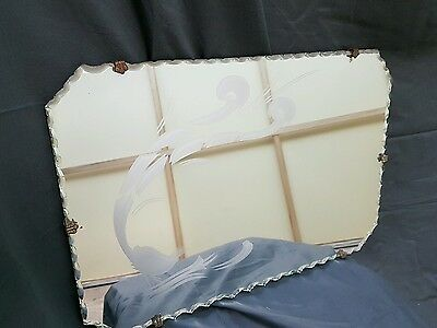 Antique Art Deco Scallop Edge Mirror With Etched Peacock